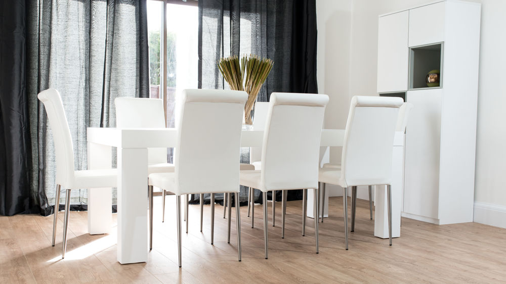 oak and white dining chairs swing chair indoor with stand modern chunky table real leather seats 8 seater