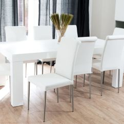 Large Round Oak Dining Table 8 Chairs Eiffel Chair With Beech Legs Modern Chunky White And Real Leather   Seats