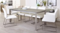 Grey Frosted Glass Dining Table | Extending Dining Table UK