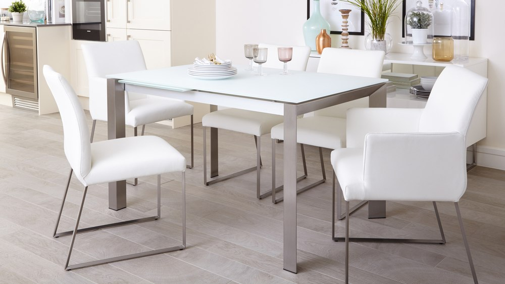 Eve Extending Frosted Glass Dining Table In White And Brushed Danetti