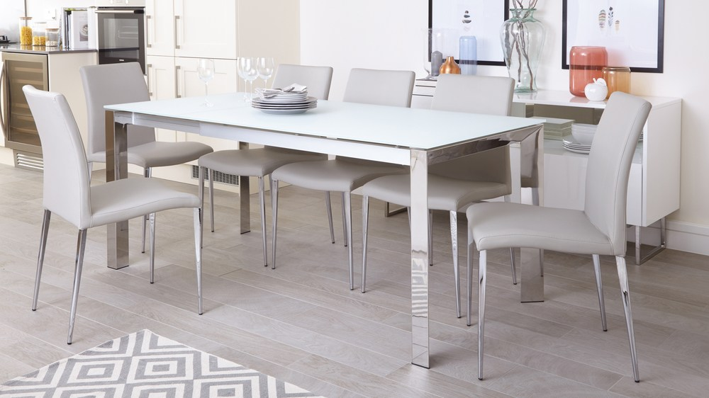 chrome dining chairs uk bistro folding white frosted glass extending table | delivery