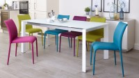 White Frosted Glass Extending Dining Set | Fabric Chairs UK