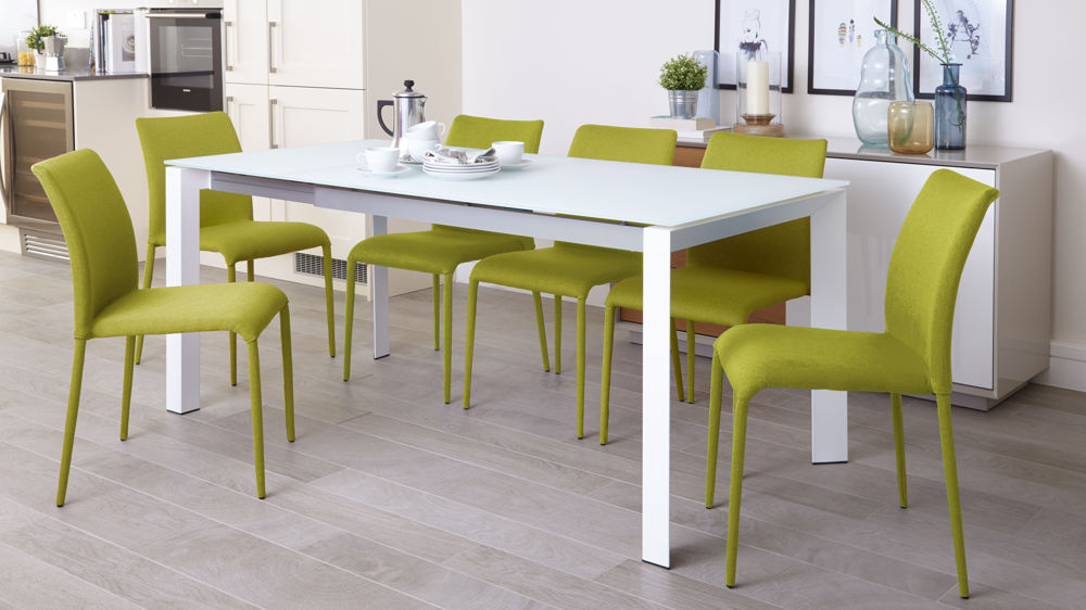 White Frosted Glass Dining Table  Extending Dining Table