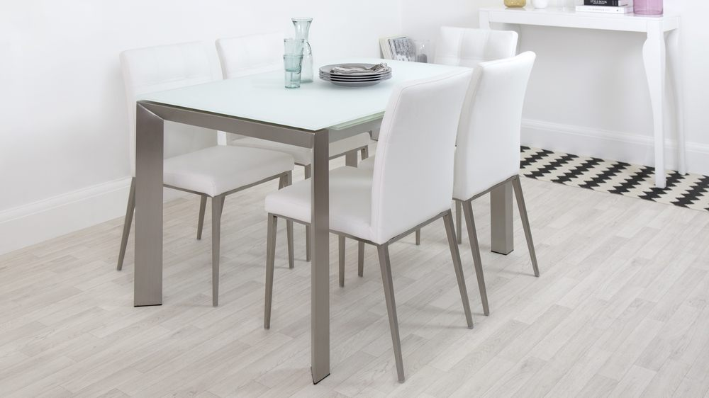 Frosted Glass Extending Dining Table  Real Leather Chairs