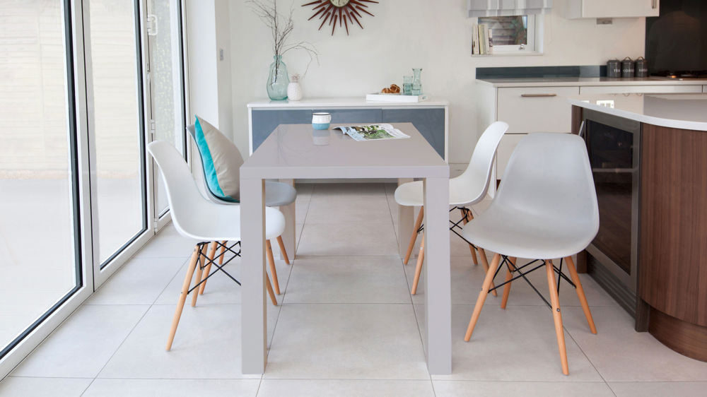 Grey Gloss 4 Seater and Eames Style Dining Set