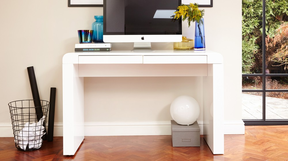 Modern White Gloss Desk  2 Drawers  Office Study Bedroom