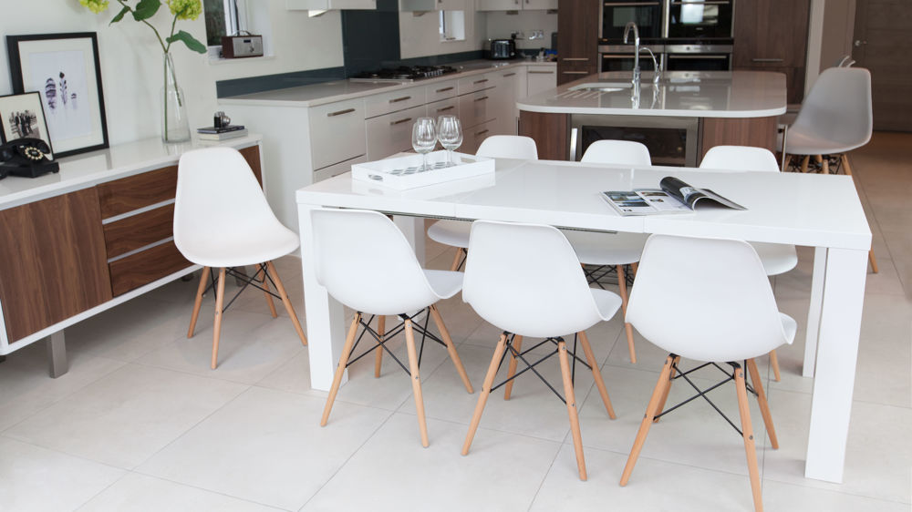 Fern White Gloss Extending and Eames Style Dining Set
