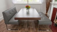 Upholstered Grey Leather Dining Bench with Backrest ...