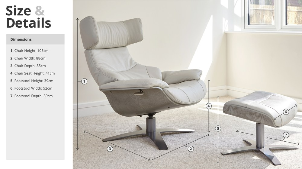 Karma Leather Armchair Recliner and Footstool  Danetti