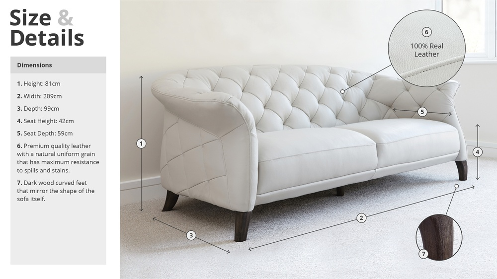 one seater sofa size distressed leather bed modern 2 chesterfield | uk