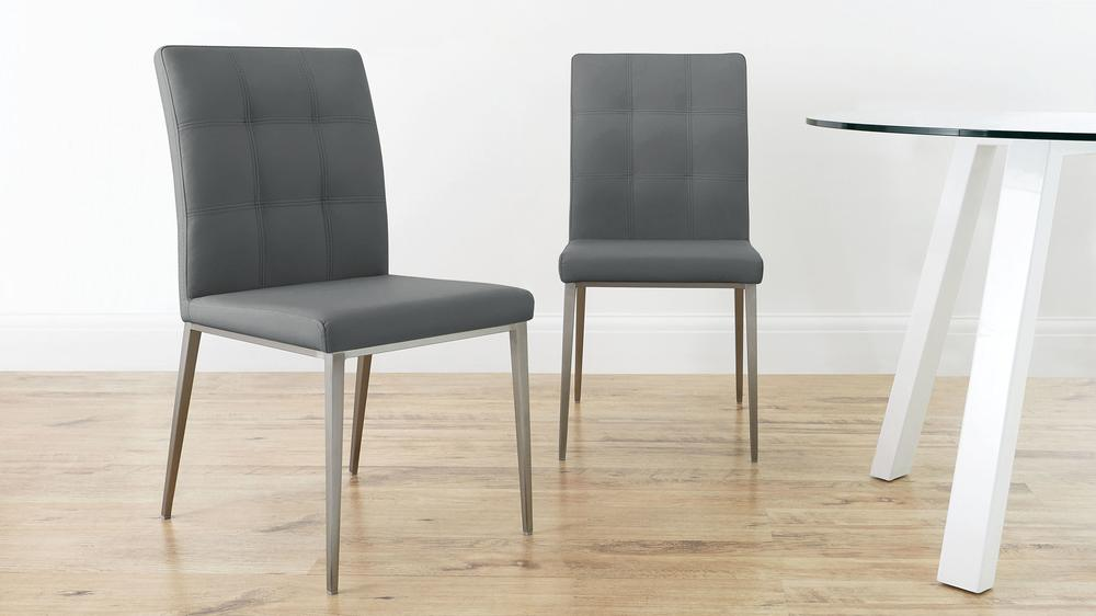 Moda Faux Leather  Brushed Steel Dining Chairs  Danetti