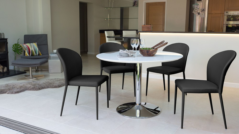 Round Modern White Gloss Dining Table Stylish Trumpet