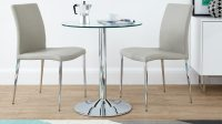 Modern Round Glass and Chrome Table | 2 Seater | UK