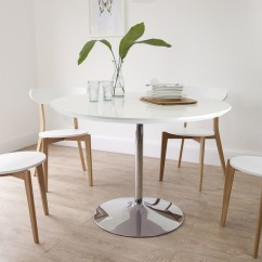Oak And White Dining Chairs How To Make Chair Bags For School Round Gloss Table Uk Chrome Pedestal Set