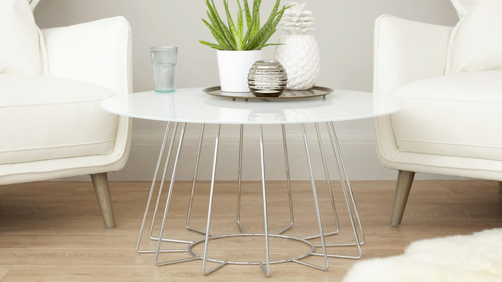 white living room side table blue and accessories glass chrome coffee furniture round