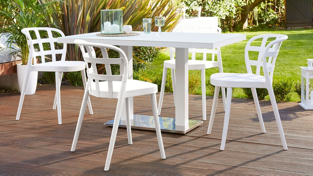 Palermo White 6 Seater Garden Table  Skye Garden Chairs