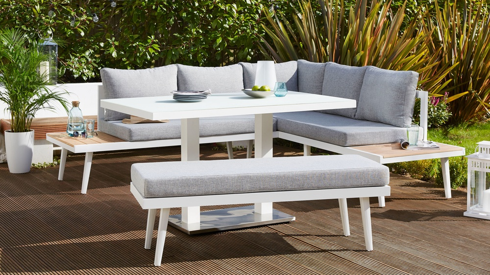 palermo rattan effect corner sofa set cover bed sofasworld table left and backless bench modern white garden