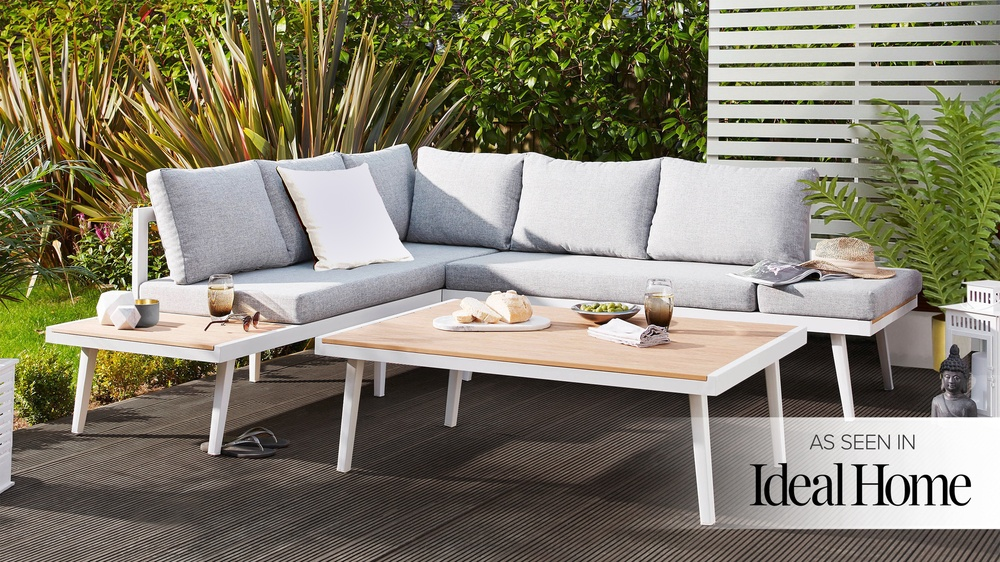 palermo rattan effect corner sofa set cover brandon distressed whiskey italian leather and loveseat white right hand garden dining bench