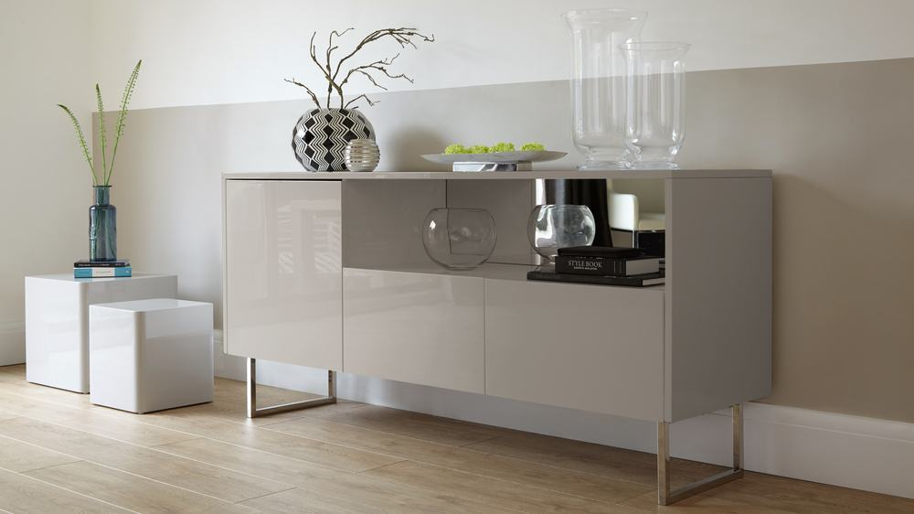 luxury leather living room sets faux wood beams in contemporary grey high gloss sideboard | danetti uk