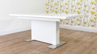 Modern Rectangular White Gloss Extending Dining Table | UK