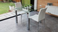 Stylish Small Dining Set | Chrome and Clear Glass | Modern ...