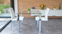 Stylish Small Dining Set   Chrome and Clear Glass   Modern ...