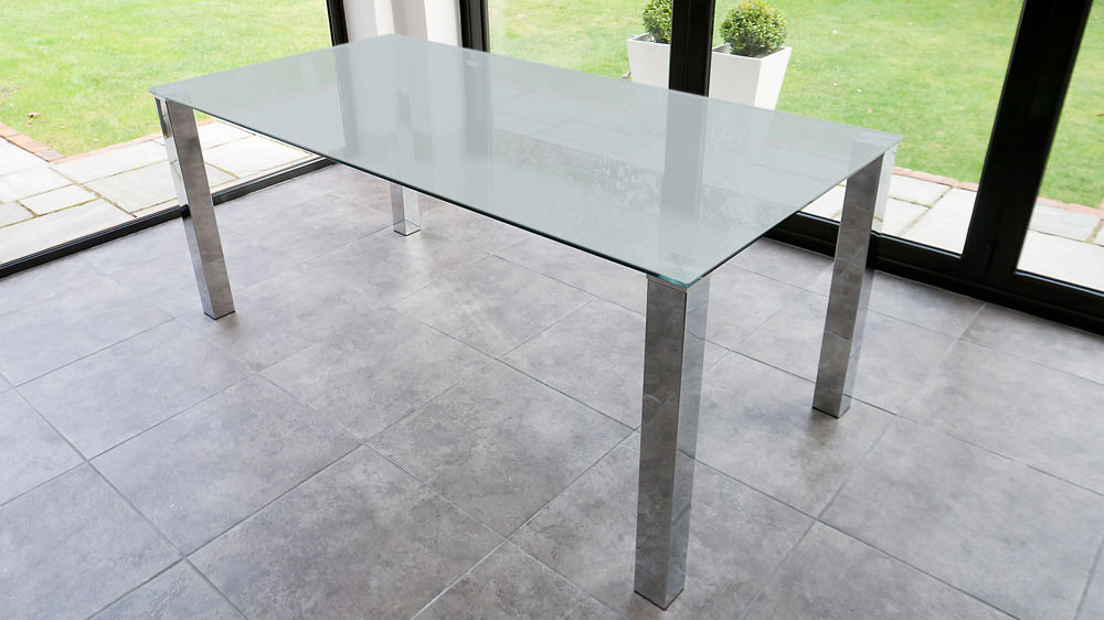 Rectangular Frosted Glass Dining Table  Chrome Legs