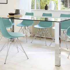 Stylist Chair For Sale Boston Interiors And A Half Rectangular Clear Glass Dining Table| Chrome Legs| Uk