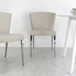 Chrome Dining Chairs Uk Eames Molded Plastic Chair White Satin Round Kitchen Set 2 Modern Curvy Legged Cream