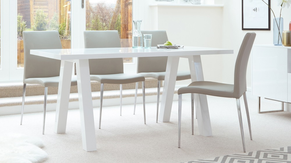 Zen 6 Seater White Gloss Minimalist Dining Table  Danetti