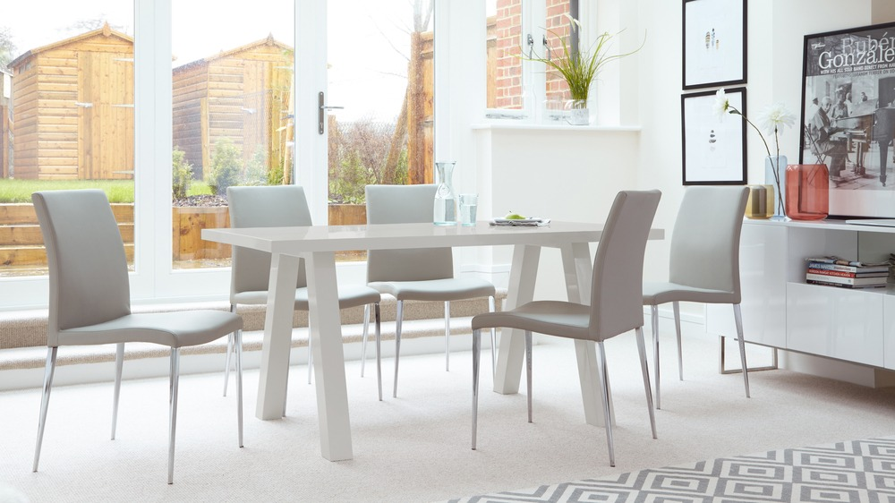 Zen Grey 6 Seater Dining Table and Chairs  Danetti