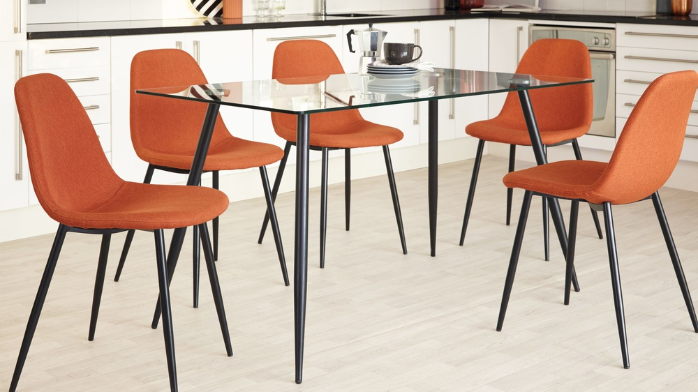 orange kitchen chairs frosted glass doors for cabinets zilo fabric vintage dining danetti bright