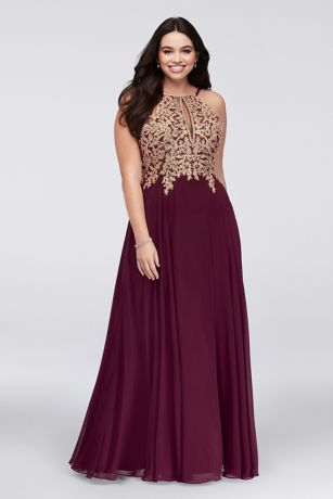 Metallic Corded Lace and Chiffon ALine Gown  Davids Bridal