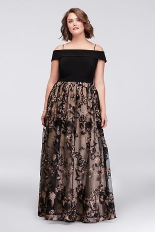 Cold Shoulder Plus Size Ball Gown With Floral Lace David