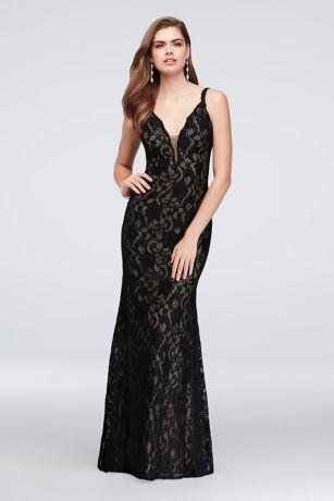 Crystal Lace Mermaid Dress With Deep V Back David S Bridal