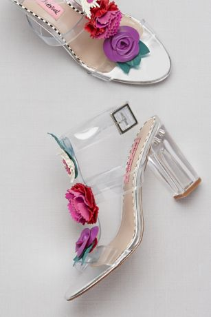 Clear Strappy Sandals With Colorful Floral Detail David