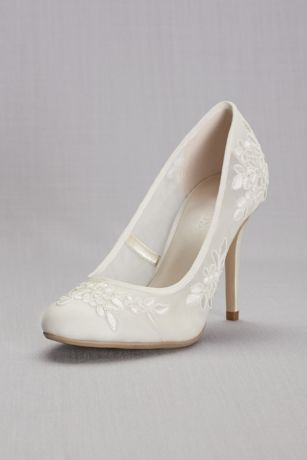 RoundToe Mesh Pumps with Corded Lace Appliques  Davids Bridal