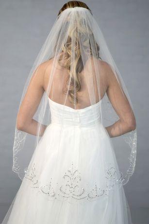 Filigree Beaded Scalloped Edge Fingertip Veil Davids Bridal