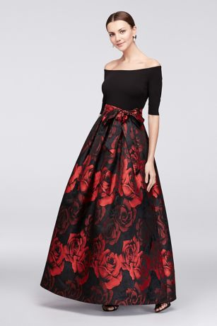 OffTheShoulder Crepe and Jacquard Ball Gown  Davids Bridal