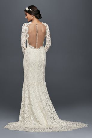 Long Sleeve Lace Wedding Dress with Open Back  Davids Bridal