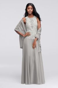 Sleeveless Long Dress with Coordinating Shawl - Davids Bridal