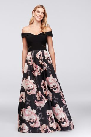 OfftheShoulder Floral Jersey and Satin Ball Gown  Davids Bridal