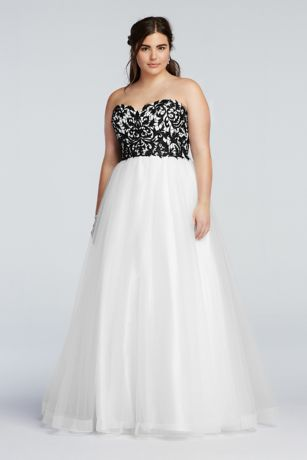 Strapless Prom Dress with Tulle Ball Gown Skirt  Davids