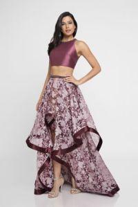 Mikado Two-Piece Dress with Burnout High-Low Skirt | David ...