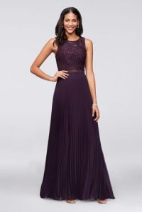 Two Piece Prom Dress with Beaded Back Decoration | David's ...