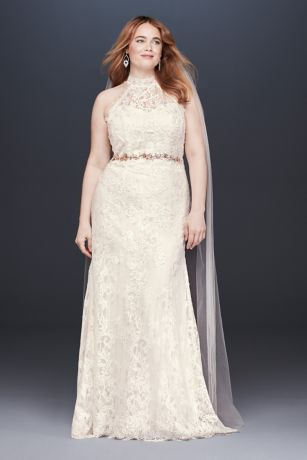 HighNeck Lace Halter Plus Size Wedding Dress  Davids Bridal