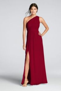 Extra Length One Shoulder Chiffon Dress
