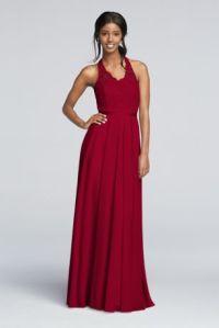 Halter Long Lace Bridesmaid Dress | David's Bridal