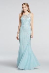 Illusion Neckline Beaded Strappy Back Prom Dress Style ...