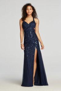 Halter Beaded Prom Dress with Thigh High Slit | David's Bridal